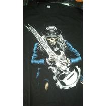 Remeras Calavera Guitarra Rock Fluo - Envíos A Todo El País