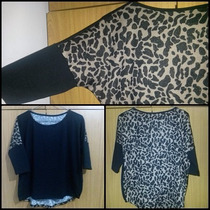 Remera Lanilla Con Brillitos- Estilo Murcielago Animal Print