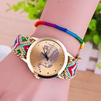 Reloj Con Bordado Hindu India Hippie Chick Style Pulsera