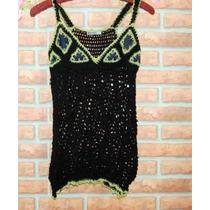 Remera En Hilo Artesanal Color Negro, Con Detalle De Jean