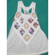 Delicada Musculosa Remera Con Crochet Nueva Talle M