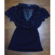 Blusa Con Transparencias De Vestir - Mab - Impecable Oferta!