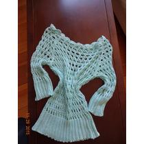 Remera Top Saquito Tejido Importado Hilo Crochet Verde Agua