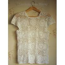 Blusa - Remera En Crochet - Tejido Artesanal