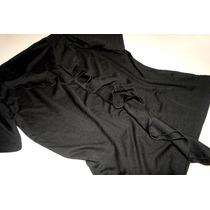 Remera Polyester Negra Con Volados