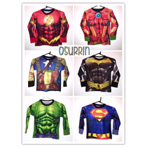 Remera Sublimada Full Print Cuerpo Super Heroe Hulk Batman