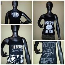 Musculosa Kiss- The Beatles- Led Zeppelin- Detalle Engomado