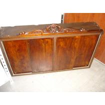 Antigua Alacena O Mueble De Madera Tallada Con Puertas