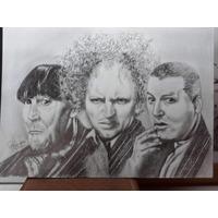 Retrato Los Tres Chiflados Dibujo A Lapiz