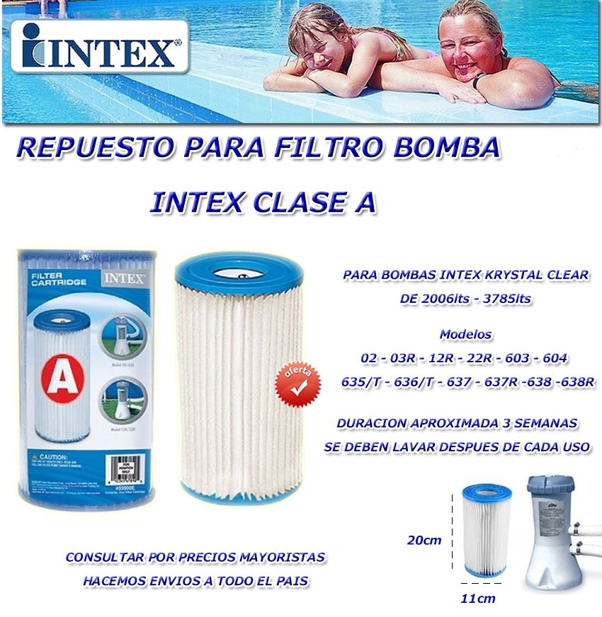 Filtros a para piscinas de intex cartuchos para for Filtro piscina intex
