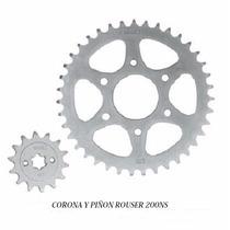 Kit Corona Y Piñon Bajaj Rouser 200ns 6 Agujeros Ryd Motos