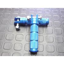 Jgo Pedalines Traseros Aluminio Azul Metalizado En Rpmotos!!