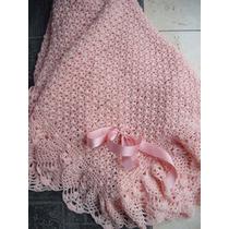 Pañoleta- Mantita- De Lana Rosa Pálido Tejido Crochet Neuva