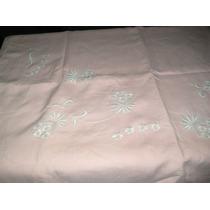 Antiguas Sabanas De Hilo Color Rosa Bordadas En Blanco