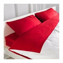 Ikea - Juego De Sábanas Dvala King 100% Algodón Rojas