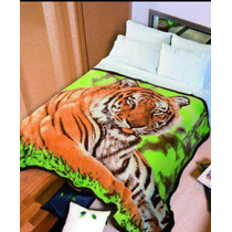 Frazada Polar Estampada Animal Print Super Económicas 2 Pl