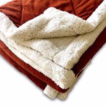 Acolchado Super Soft Con Corderito 1 1/2 Plazas Ladrillo