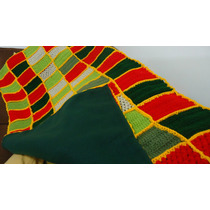 Manta, Frazada Tejida A Crochet Forrada Con Doble Polar!!