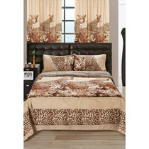 Acolchado Fg 2 1/2 Plazas Estampado Animal Print Leopardo