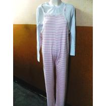 Pijama Enterito De Interlock Y Remera Blanca De Modal