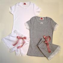 Pijama Nena Algodon Y Puntilla De Encaje Calidad