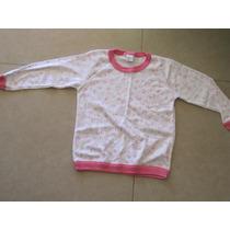 Remera Pijama Rosa Y Blanco Naranjo T: 10 Años Abrigada
