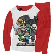 Pijama Manga Larga Minecraft T2 Al T12 Malatan
