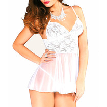 Mordisco 720 Baby Doll Camisolin Tul Y Puntilla Con Less