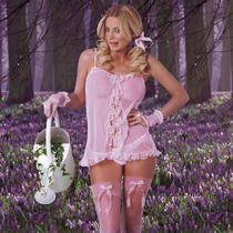 07- Baby Doll Dulce Para San Valentín Con Medias Hermosa Len