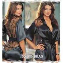 Bata Sexy De Raso Con Encaje - Lenceria 50 Sombras