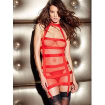 Vestido De Tiras Sogas Rojo Y Negro Sexy Explota