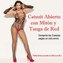 Sensual Enterito-catsuit D Red Elastizado+mitones+tanga Sexy