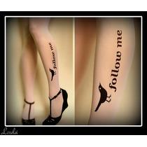 Medias Pantys Tattoo Diseño Follow Me Con Pajarito