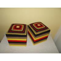 Juego De 2 Puffs Tejidos Crochet Exclusivos Med. 40 X 40 Cm