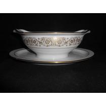 Salsera. Porcelana Noritake, Plato Presentoire, Decor.oro