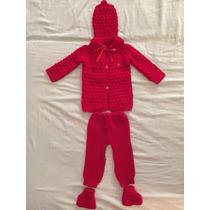 Set Tejido Bebe Saquito Pantalon Gorro Escarpines Rojo 3 A 6