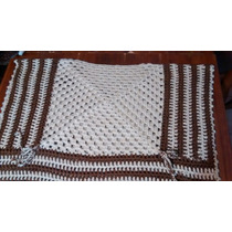 Poncho Tejido Al Crochet En Colorea Tierra Rectangular