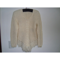 Sweater De Hilo De Algodón Natural - Artesanal C / Flecos
