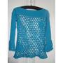 Sweater Artesanal De Hilo Calado Crochet Turquesa Nuevo