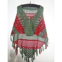 Poncho De Lana Verde Y Rojo - Artesanal - Crochet - Nuevo -