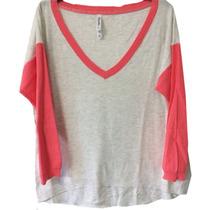 Clippate Sweater Hilo Manga 3/4 Combinado Saco Escote V