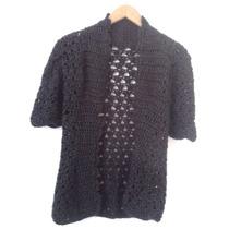 Saco Cardigan Crochet Negro Matizado Importado