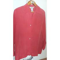 Camisa De Seda Roja Importada Art & Silk Rack Nueva