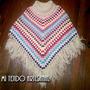 Poncho Tejido Al Crochet De Diseño Con Y Sin Bolsillos