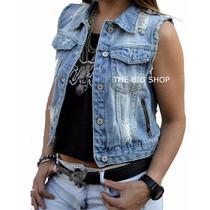 Chaleco De Jeans Con Roturas Mujer