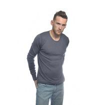 Sweater Pullover Liso Azul Hombre Cuello Redondo Slim Fit -