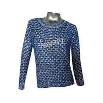 Sweater Pullover Azul Con Guardas Plateadas Talle Unico