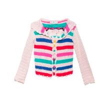 Saco Cardigan Pullover En Crochet Rayas Bordado Colores