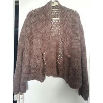 Saco 100/ Lana En Crochet Impecable T M Color Vison