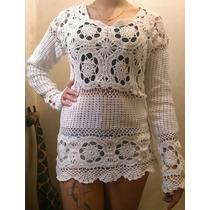 Sweater Tejido Crochet Hilo Macrame